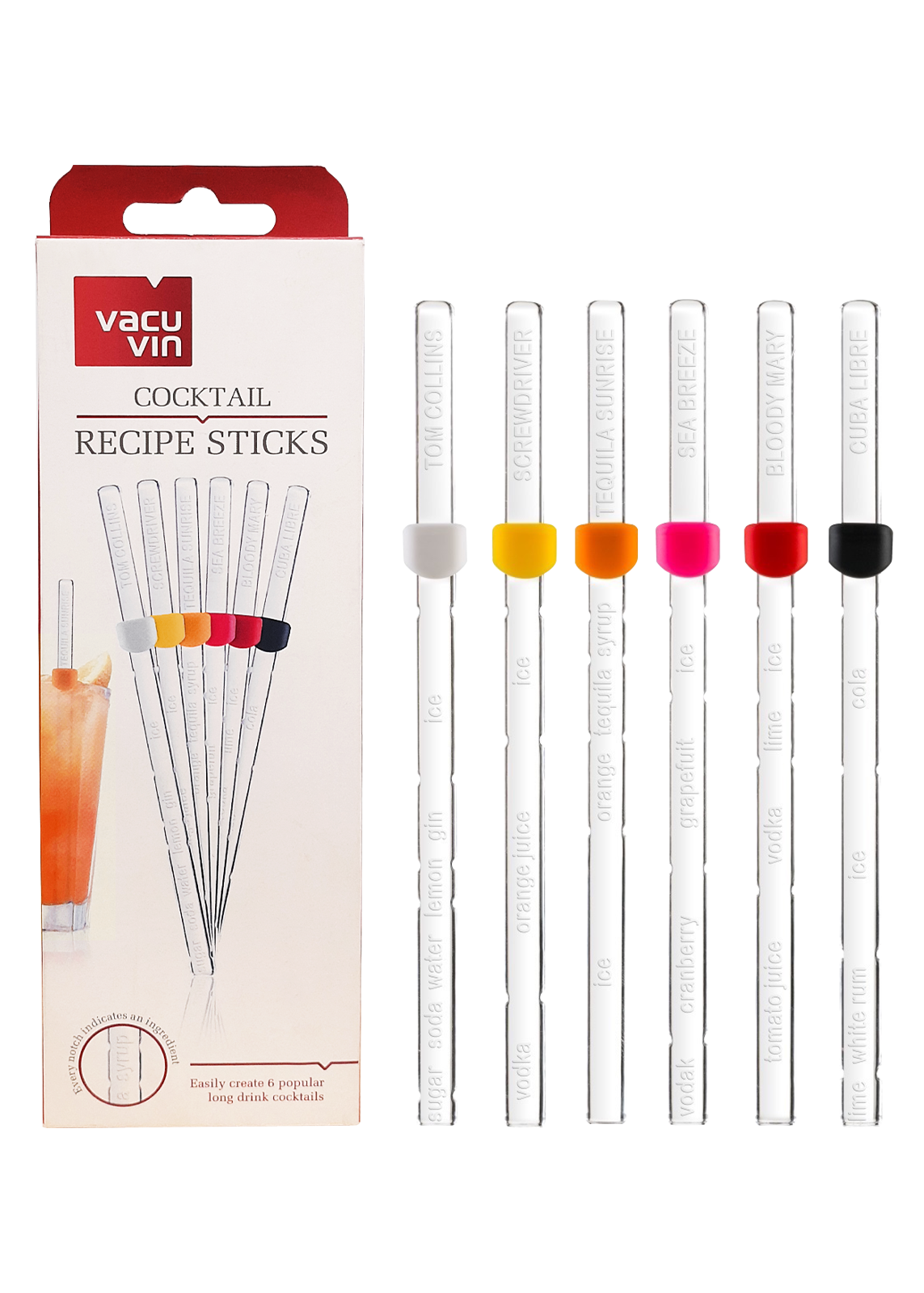 COCKTAIL RECIPE STICKS SET OF 6